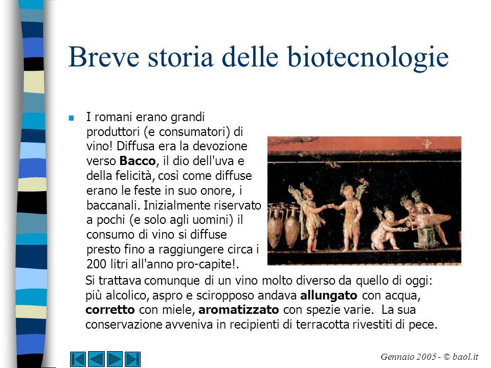 Breve storia delle biotecnologie La produzione del vino (1/4) n La produzione di vino si basa sulla fermentazione di zuccheri (glucosio e fruttosio) presenti nel succo d uva.