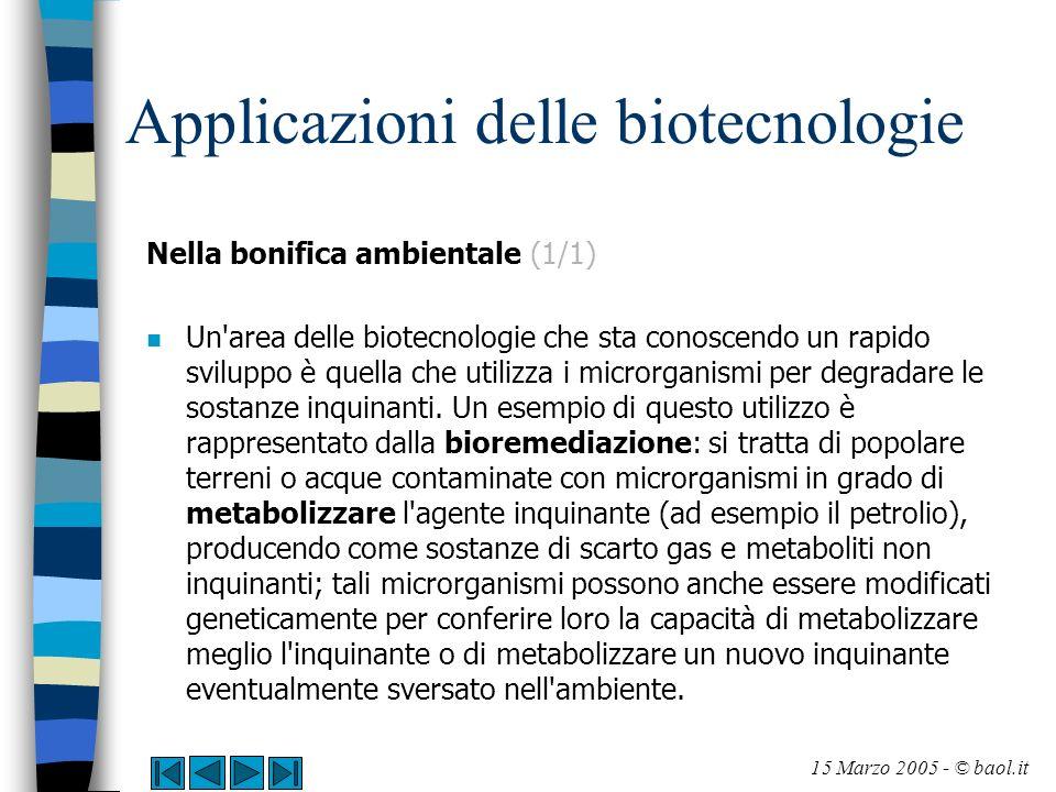 Applicazioni delle biotecnologie Nella bonifica ambientale (1/1) n Un'area delle biotecnologie che sta conoscendo un rapido sviluppo è quella che util