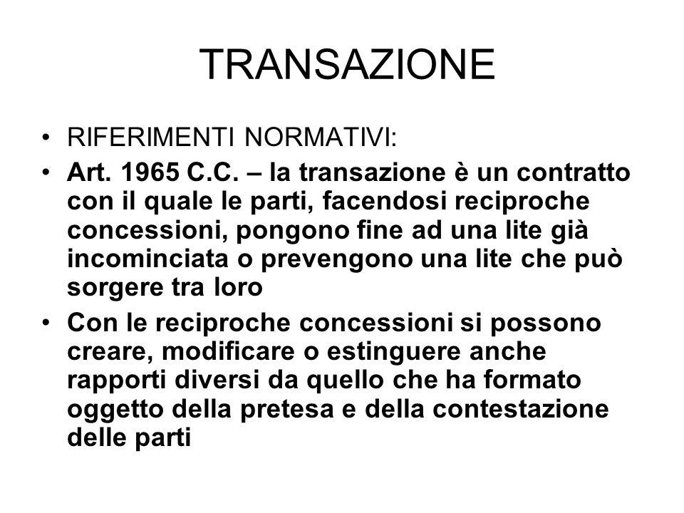 TRANSAZIONE RIFERIMENTI NORMATIVI: Art.1965 C.C.