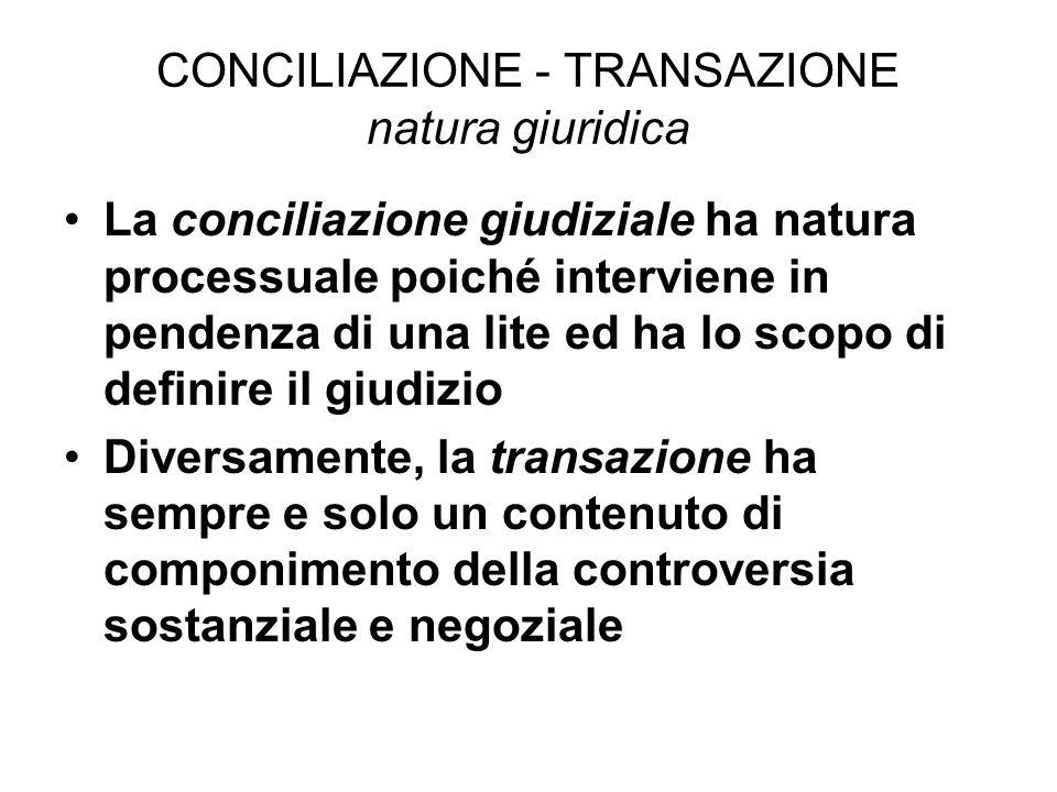 CONCILIAZIONE - TRANSAZIONE natura giuridica La conciliazione giudiziale ha natura processuale poiché interviene in pendenza di una lite ed ha lo scopo di definire il giudizio Diversamente, la transazione ha sempre e solo un contenuto di componimento della controversia sostanziale e negoziale
