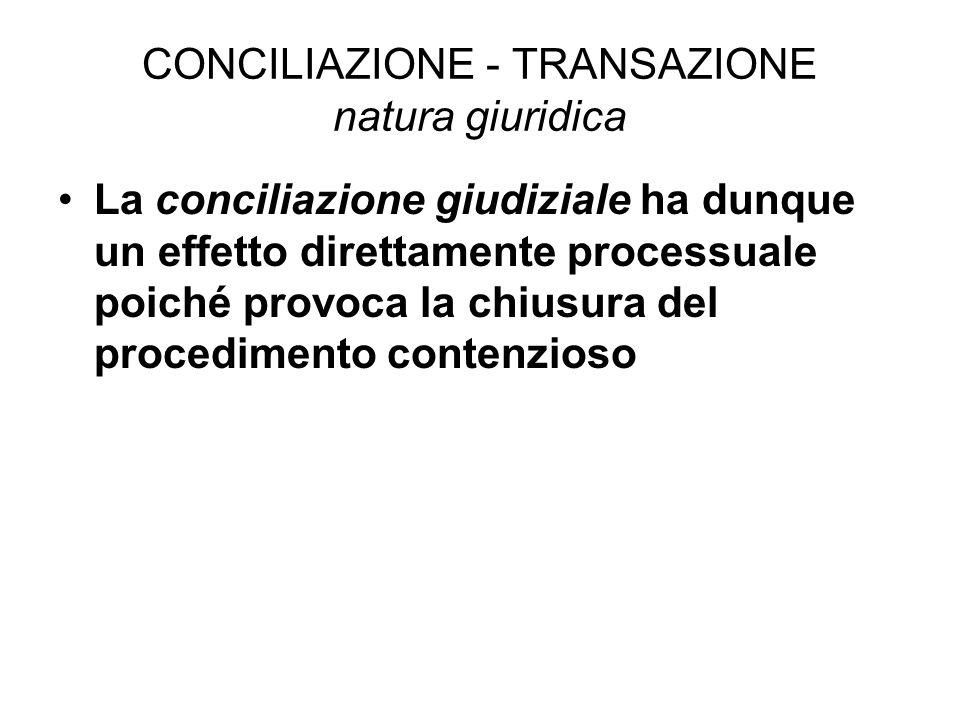 CONCILIAZIONE - TRANSAZIONE natura giuridica La conciliazione giudiziale ha dunque un effetto direttamente processuale poiché provoca la chiusura del procedimento contenzioso
