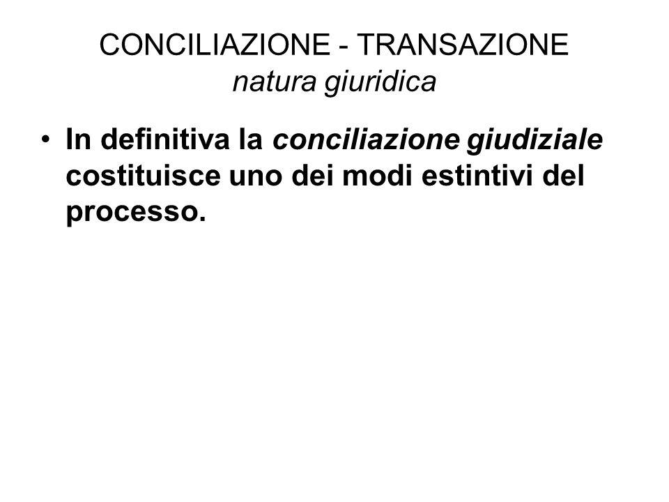 CONCILIAZIONE - TRANSAZIONE natura giuridica In definitiva la conciliazione giudiziale costituisce uno dei modi estintivi del processo.