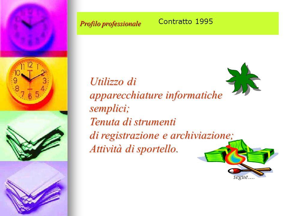 Profilo professionale Utilizzo di apparecchiature informatiche semplici; Tenuta di strumenti di registrazione e archiviazione; Attività di sportello.