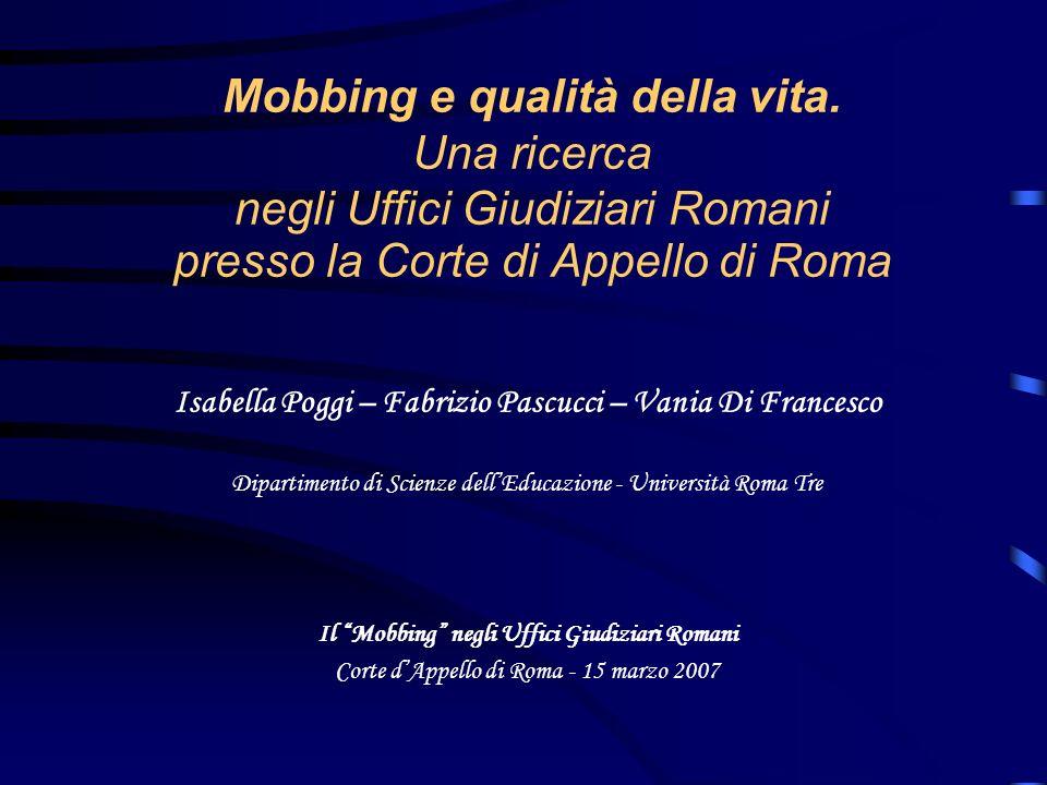 Mobbing e qualità della vita. Una ricerca negli Uffici Giudiziari Romani presso la Corte di Appello di Roma Isabella Poggi – Fabrizio Pascucci – Vania
