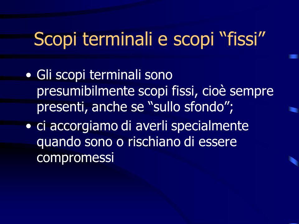 Scopi terminali e scopi fissi Gli scopi terminali sono presumibilmente scopi fissi, cioè sempre presenti, anche se sullo sfondo; ci accorgiamo di aver