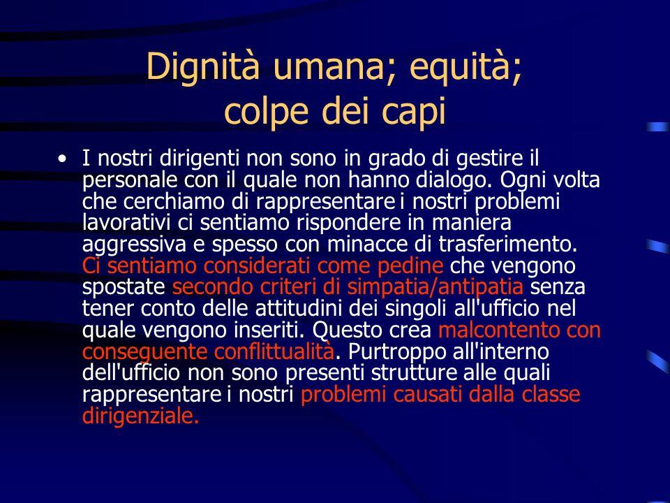 Dignità umana; equità; colpe dei capi I nostri dirigenti non sono in grado di gestire il personale con il quale non hanno dialogo. Ogni volta che cerc
