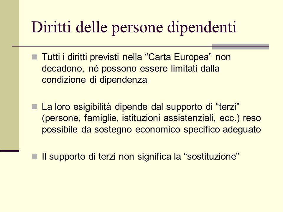 Diritti delle persone dipendenti Tutti i diritti previsti nella Carta Europea non decadono, né possono essere limitati dalla condizione di dipendenza