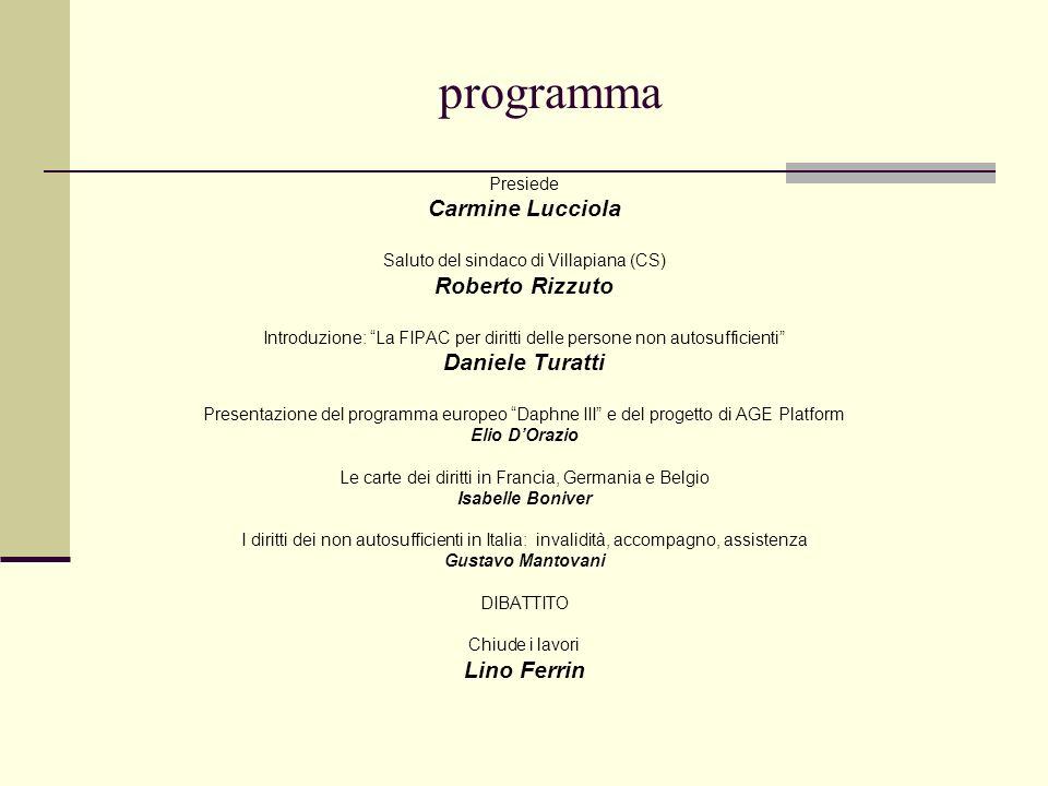 programma Presiede Carmine Lucciola Saluto del sindaco di Villapiana (CS) Roberto Rizzuto Introduzione: La FIPAC per diritti delle persone non autosuf