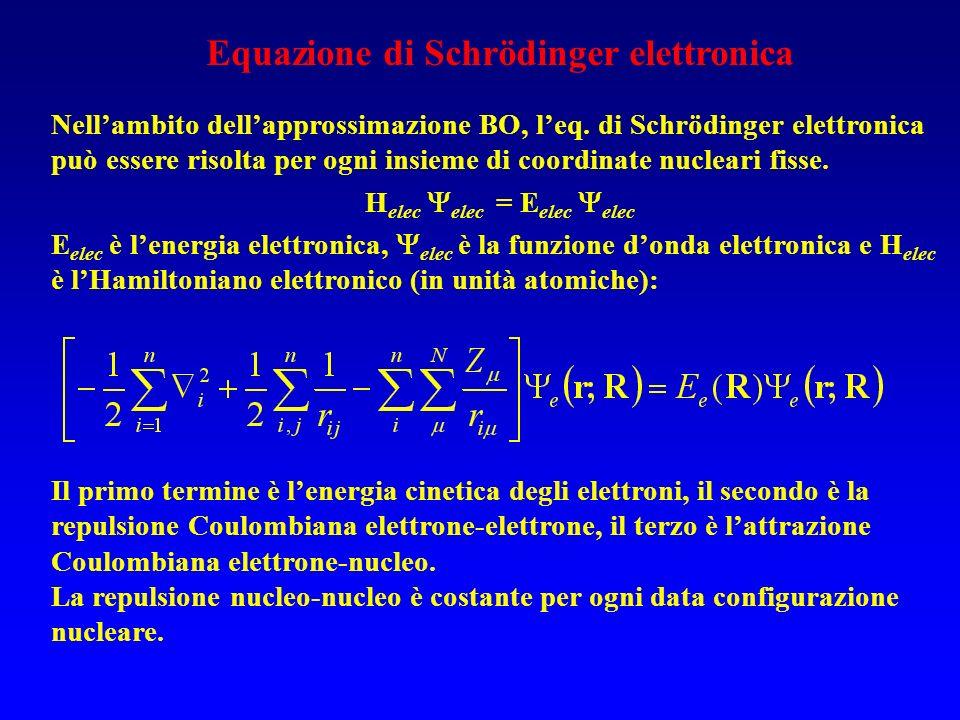 Equazione di Schrödinger elettronica Nellambito dellapprossimazione BO, leq.