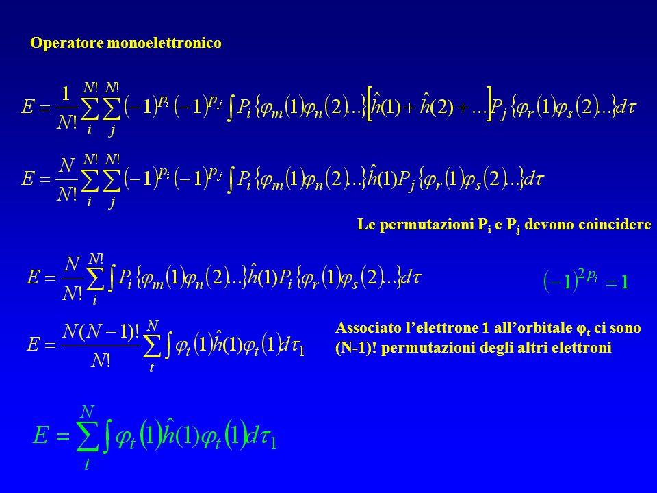 Operatore monoelettronico Le permutazioni P i e P j devono coincidere Associato lelettrone 1 allorbitale φ t ci sono (N-1).