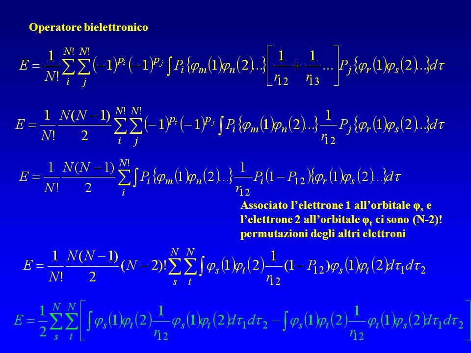 Operatore bielettronico Associato lelettrone 1 allorbitale φ s e lelettrone 2 allorbitale φ t ci sono (N-2).