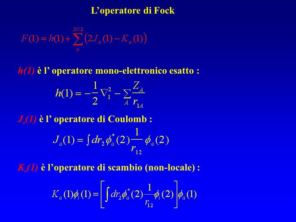Loperatore di Fock h(1) è l operatore mono-elettronico esatto : J a (1) è l operatore di Coulomb : K a (1) è loperatore di scambio (non-locale) :