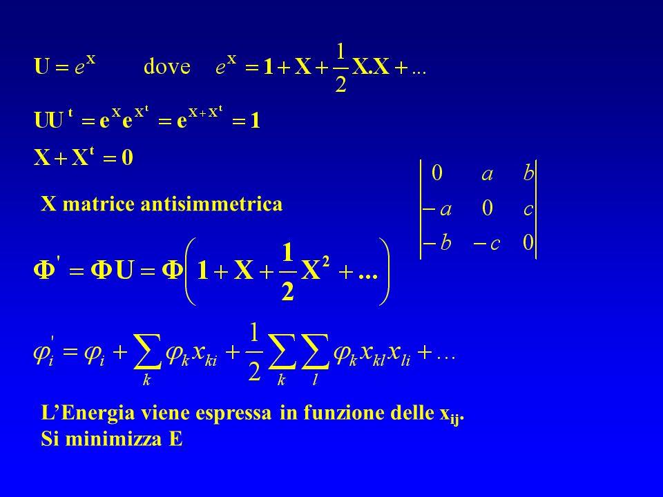 LEnergia viene espressa in funzione delle x ij. Si minimizza E X matrice antisimmetrica