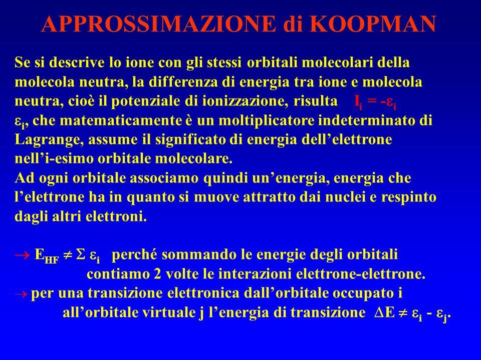 APPROSSIMAZIONE di KOOPMAN Se si descrive lo ione con gli stessi orbitali molecolari della molecola neutra, la differenza di energia tra ione e molecola neutra, cioè il potenziale di ionizzazione, risulta I i = - i i, che matematicamente è un moltiplicatore indeterminato di Lagrange, assume il significato di energia dellelettrone nelli-esimo orbitale molecolare.