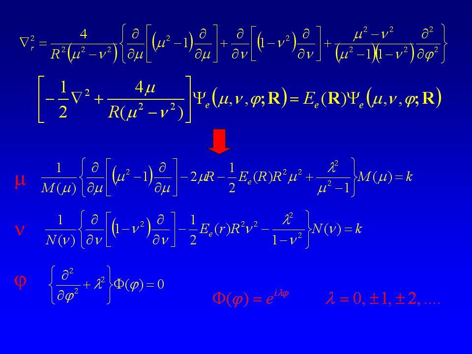 H 2 + E = E e + 1/R = -0.6026342 hartree a R e = 2 bohr E diss = E(H) + E(H + ) – E(H 2 + ) = 0.1026342 hartree = 2.7928 eV H 2 E diss = 2 E(H) – E(H 2 ) = 4.47 eV R e = 1.4 bohr