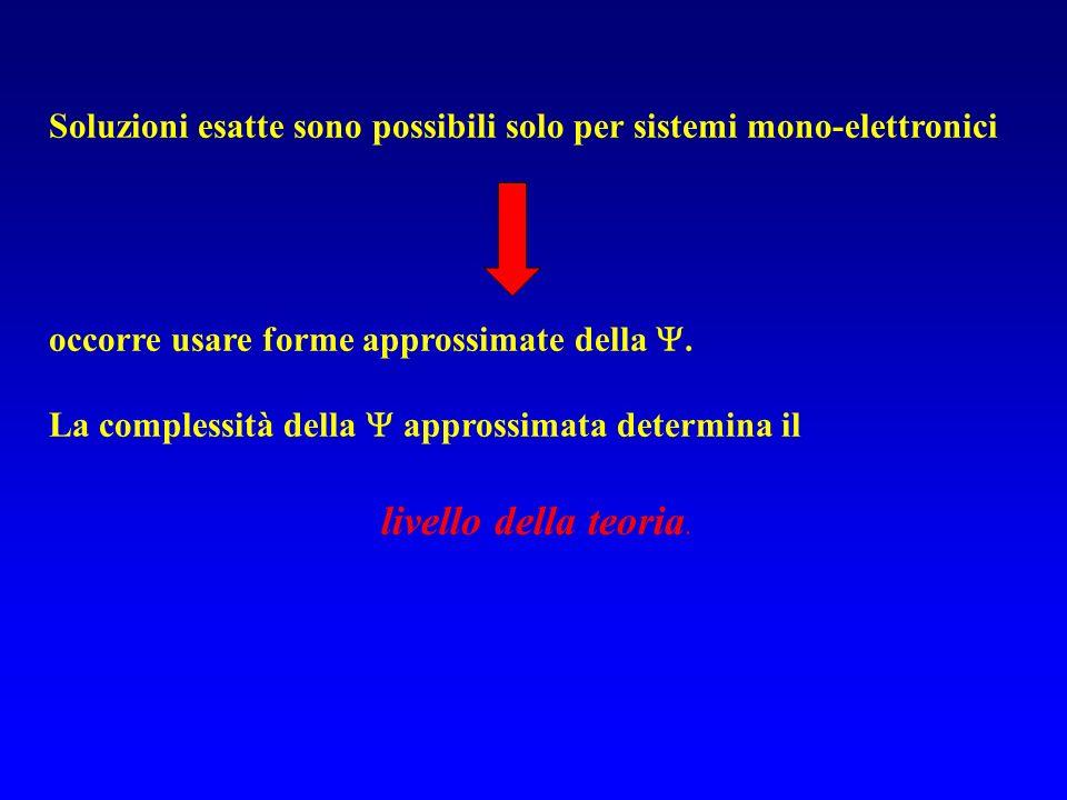 Soluzioni esatte sono possibili solo per sistemi mono-elettronici occorre usare forme approssimate della.