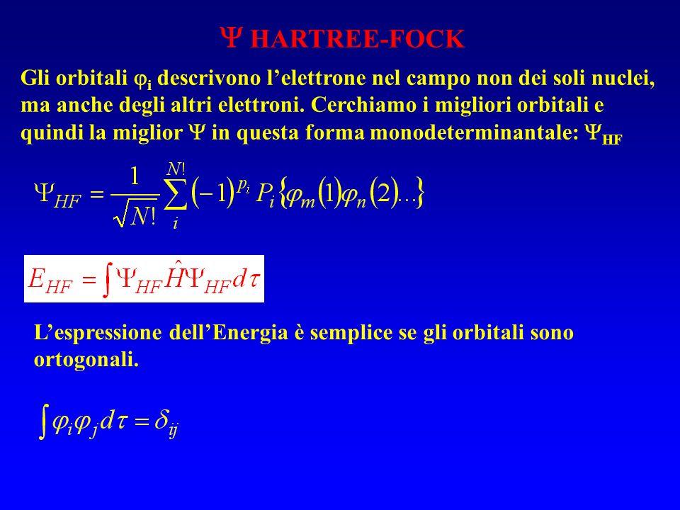 HARTREE-FOCK Gli orbitali i descrivono lelettrone nel campo non dei soli nuclei, ma anche degli altri elettroni.