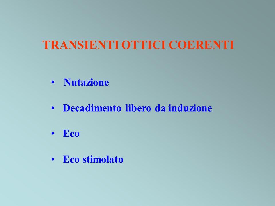 TRANSIENTI OTTICI COERENTI Nutazione Decadimento libero da induzione Eco Eco stimolato