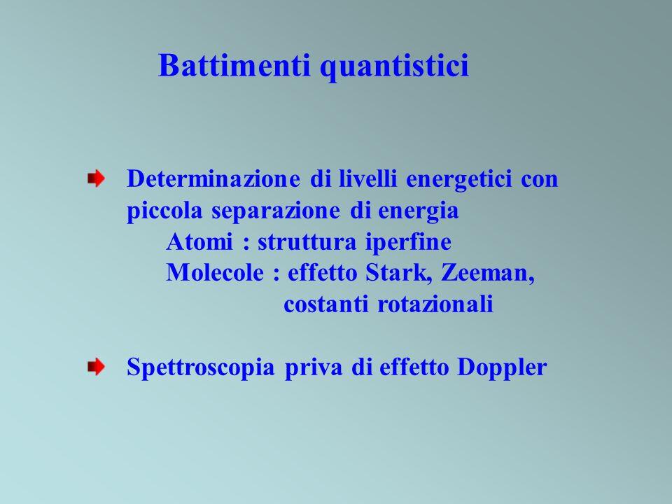 Battimenti quantistici Determinazione di livelli energetici con piccola separazione di energia Atomi : struttura iperfine Molecole : effetto Stark, Ze