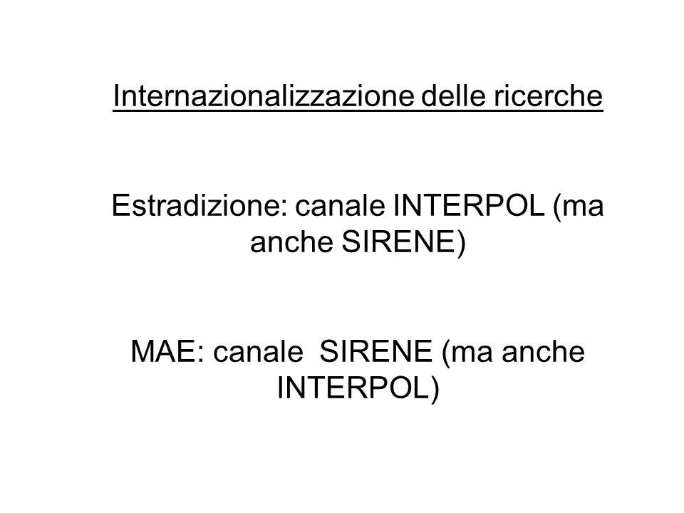Internazionalizzazione delle ricerche Estradizione: canale INTERPOL (ma anche SIRENE) MAE: canale SIRENE (ma anche INTERPOL)