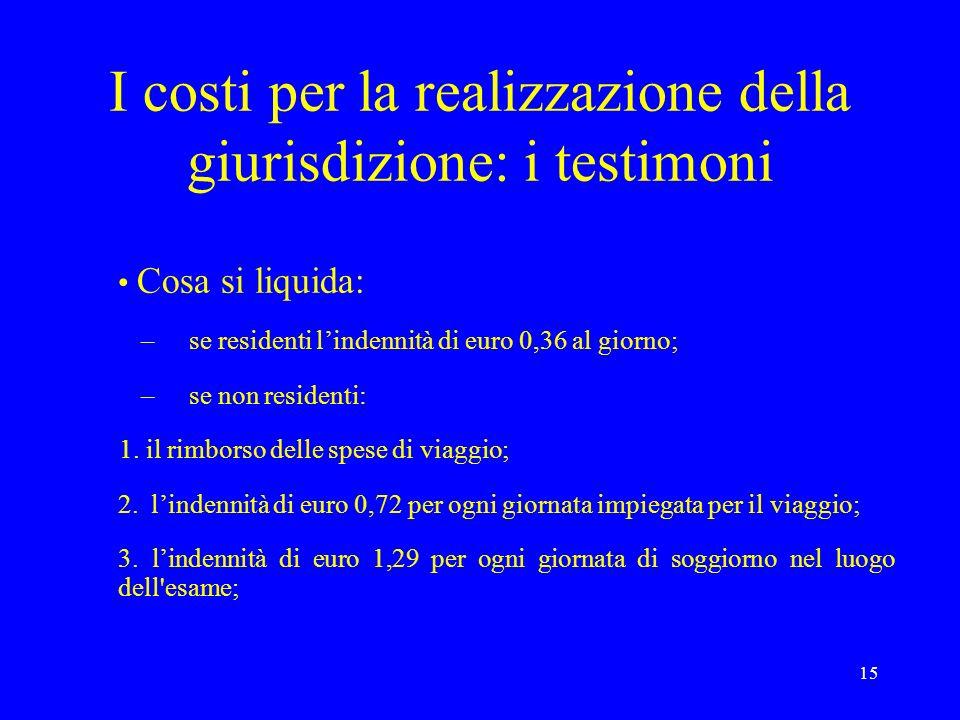 15 I costi per la realizzazione della giurisdizione: i testimoni Cosa si liquida: –se residenti lindennità di euro 0,36 al giorno; –se non residenti: