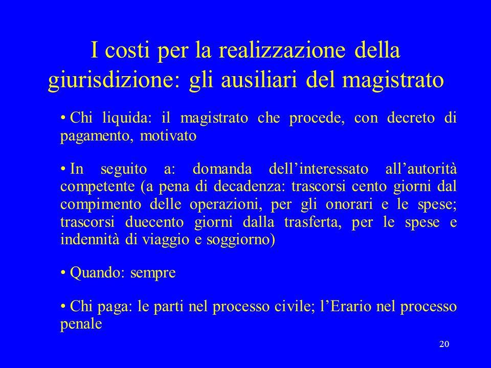 20 I costi per la realizzazione della giurisdizione: gli ausiliari del magistrato Chi liquida: il magistrato che procede, con decreto di pagamento, mo