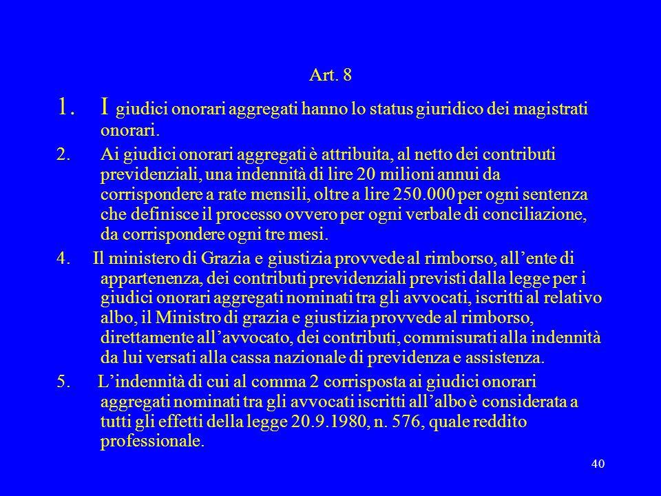 40 Art. 8 1.I giudici onorari aggregati hanno lo status giuridico dei magistrati onorari. 2.Ai giudici onorari aggregati è attribuita, al netto dei co