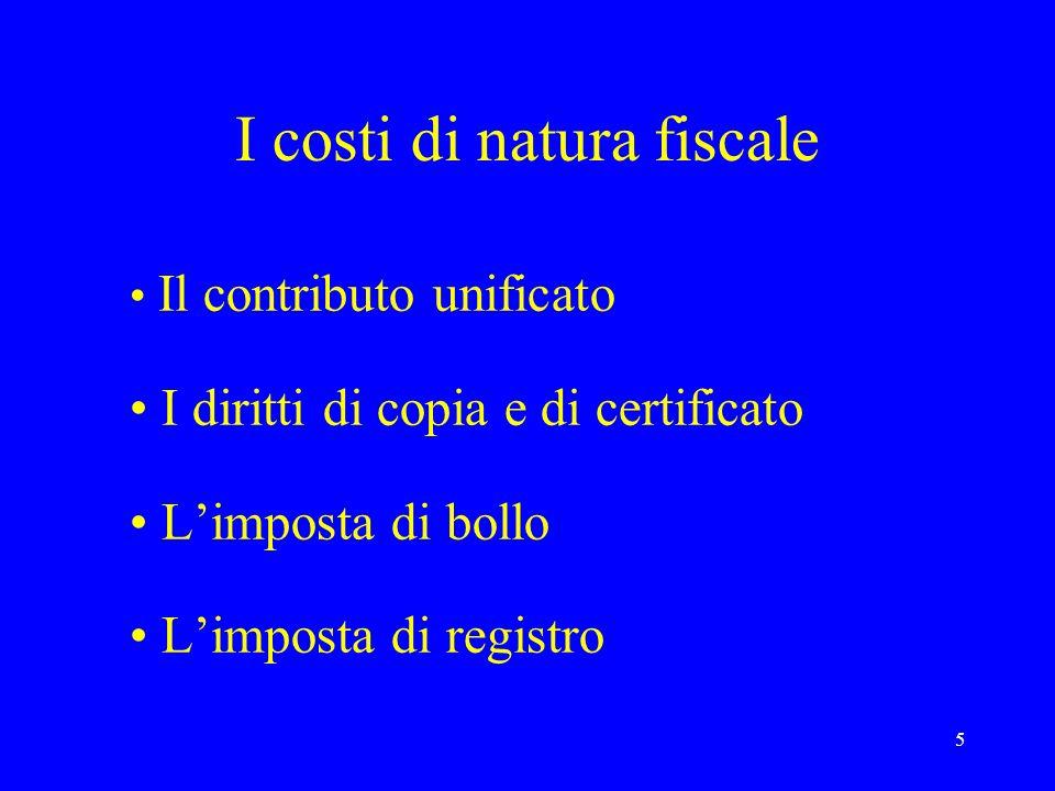 5 I costi di natura fiscale Il contributo unificato I diritti di copia e di certificato Limposta di bollo Limposta di registro