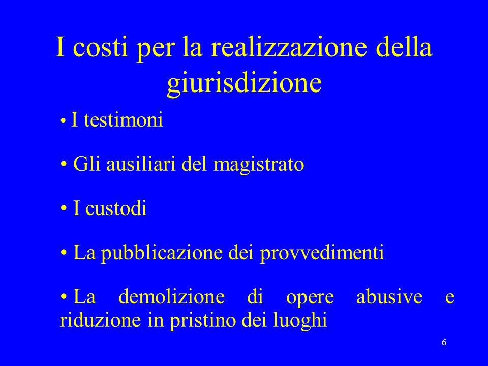 6 I costi per la realizzazione della giurisdizione I testimoni Gli ausiliari del magistrato I custodi La pubblicazione dei provvedimenti La demolizion