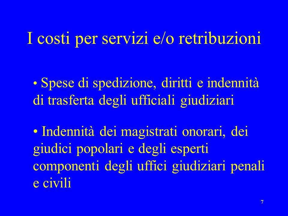 7 I costi per servizi e/o retribuzioni Spese di spedizione, diritti e indennità di trasferta degli ufficiali giudiziari Indennità dei magistrati onora