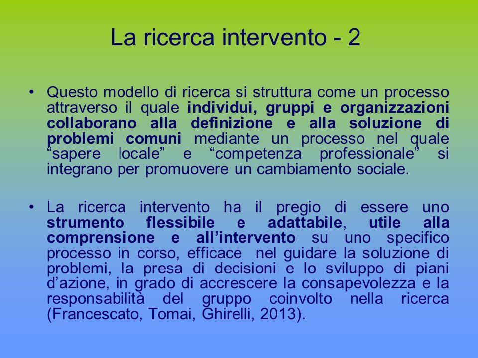 La ricerca intervento - 2 Questo modello di ricerca si struttura come un processo attraverso il quale individui, gruppi e organizzazioni collaborano alla definizione e alla soluzione di problemi comuni mediante un processo nel quale sapere locale e competenza professionale si integrano per promuovere un cambiamento sociale.