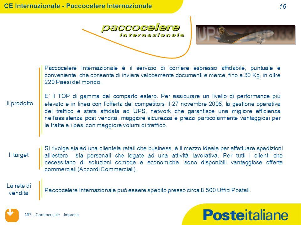 02/02/2014 MP – Commerciale - Imprese 16 Si rivolge sia ad una clientela retail che business, è il mezzo ideale per effettuare spedizioni allestero sia personali che legate ad una attività lavorativa.
