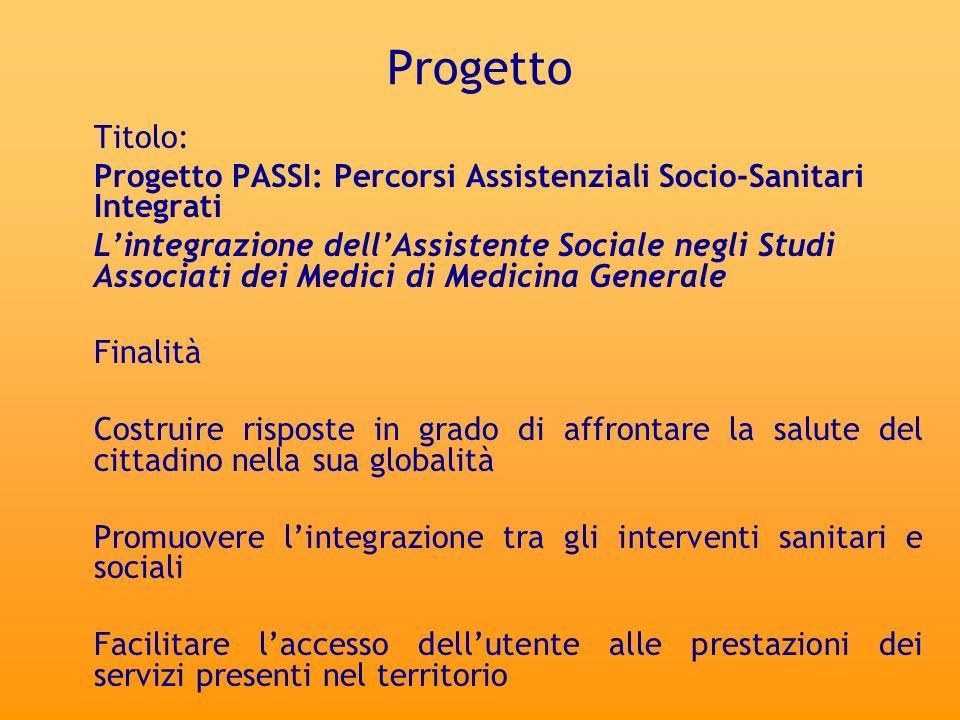 Progetto Titolo: Progetto PASSI: Percorsi Assistenziali Socio-Sanitari Integrati Lintegrazione dellAssistente Sociale negli Studi Associati dei Medici