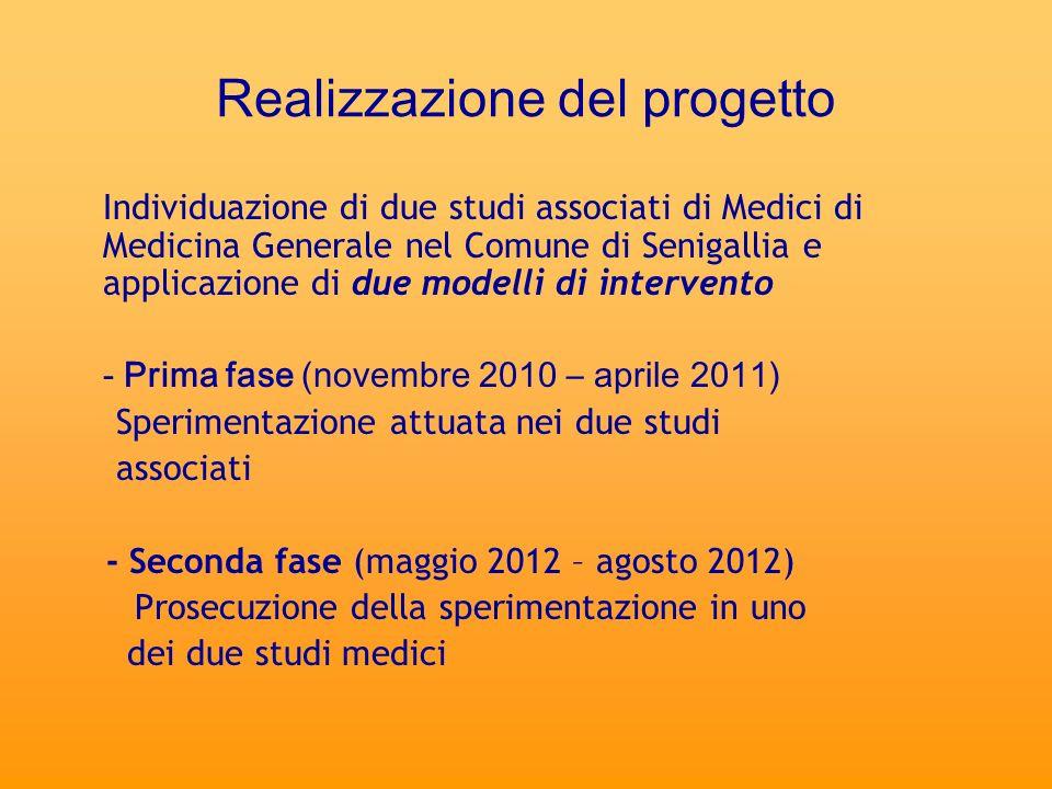 Realizzazione del progetto Individuazione di due studi associati di Medici di Medicina Generale nel Comune di Senigallia e applicazione di due modelli