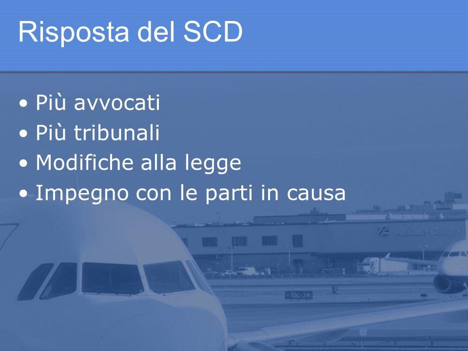Risposta del SCD Più avvocati Più tribunali Modifiche alla legge Impegno con le parti in causa