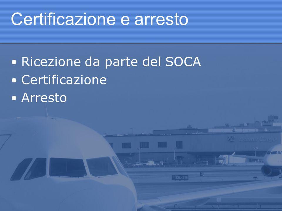 Certificazione e arresto Ricezione da parte del SOCA Certificazione Arresto