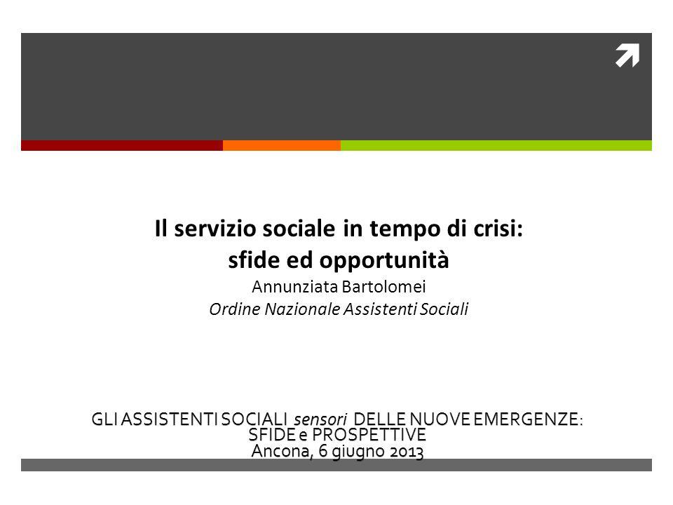 Il servizio sociale in tempo di crisi: sfide ed opportunità Annunziata Bartolomei Ordine Nazionale Assistenti Sociali