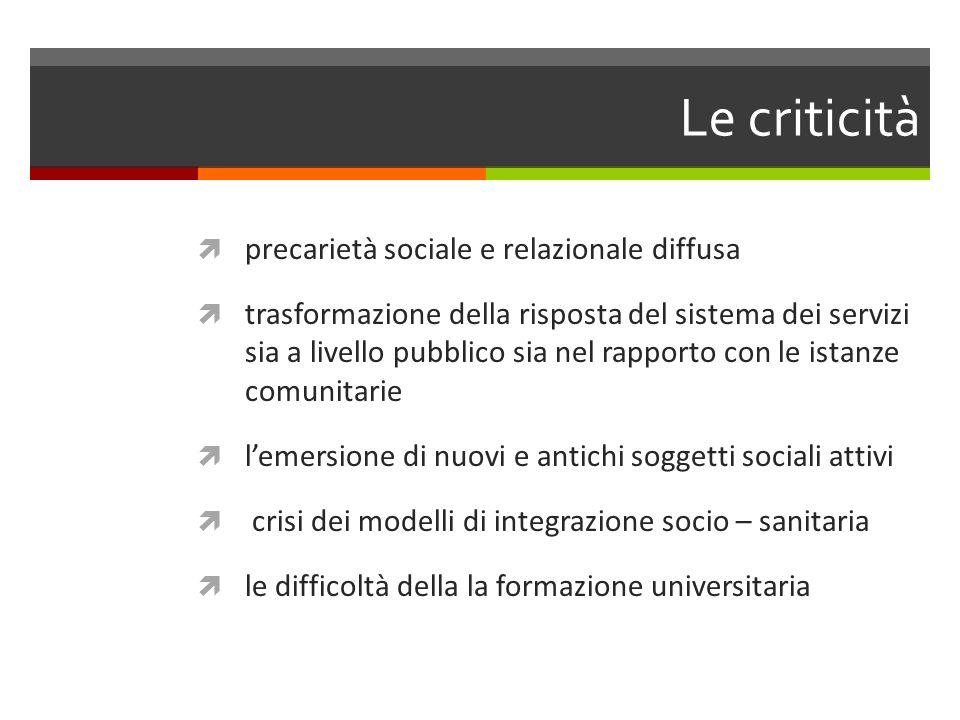 Le criticità precarietà sociale e relazionale diffusa trasformazione della risposta del sistema dei servizi sia a livello pubblico sia nel rapporto co