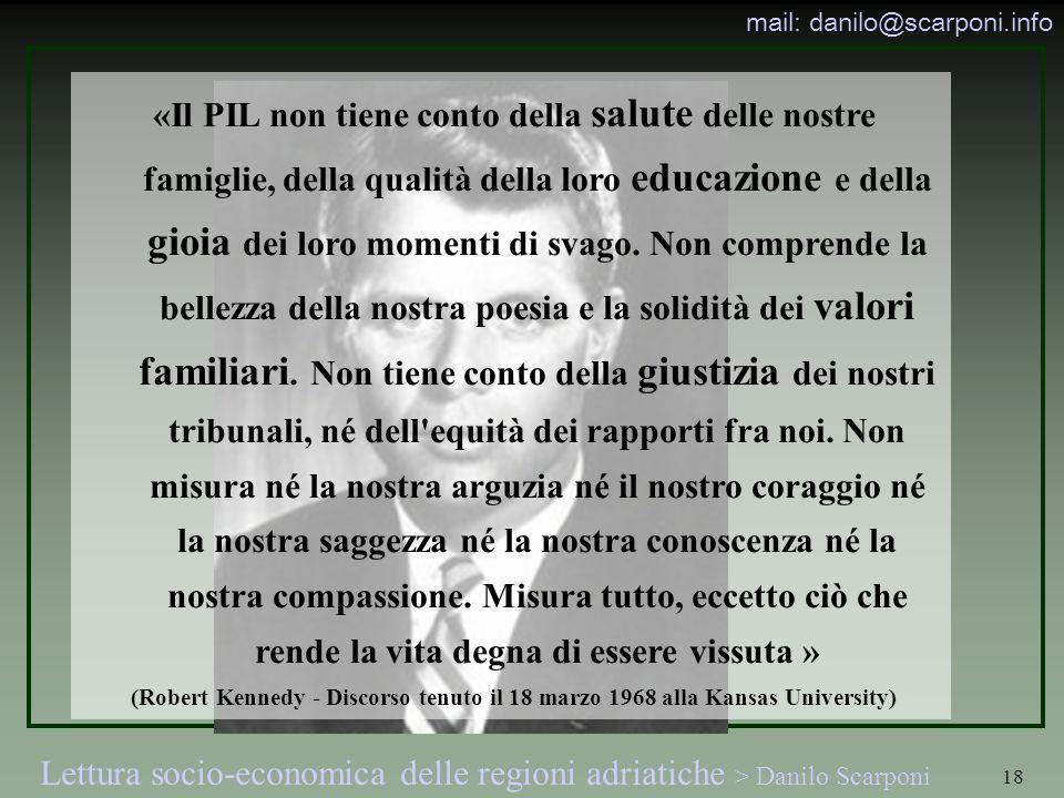 Lettura socio-economica delle regioni adriatiche > Danilo Scarponi mail: danilo@scarponi.info 18 «Il PIL non tiene conto della salute delle nostre fam