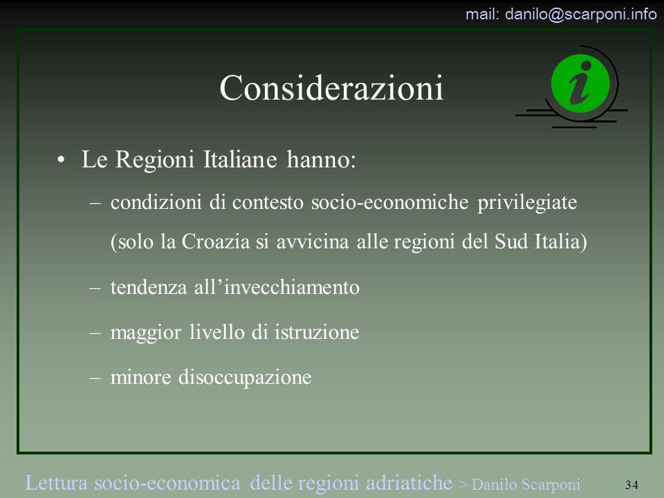 Lettura socio-economica delle regioni adriatiche > Danilo Scarponi mail: danilo@scarponi.info 34 Considerazioni Le Regioni Italiane hanno: –condizioni