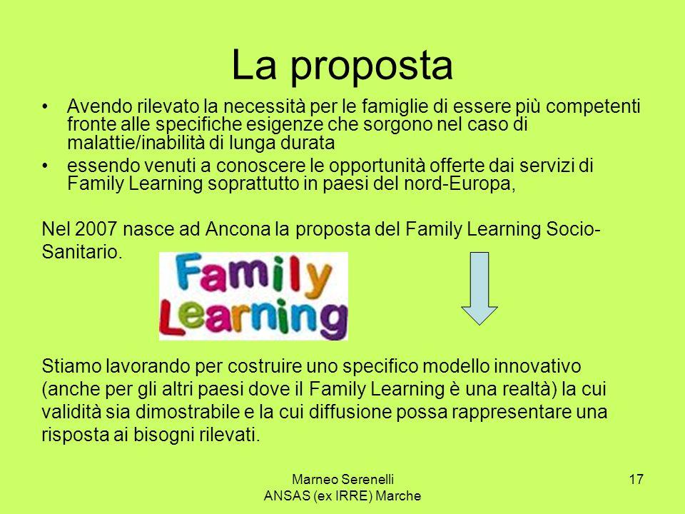 Marneo Serenelli ANSAS (ex IRRE) Marche 17 La proposta Avendo rilevato la necessità per le famiglie di essere più competenti fronte alle specifiche es