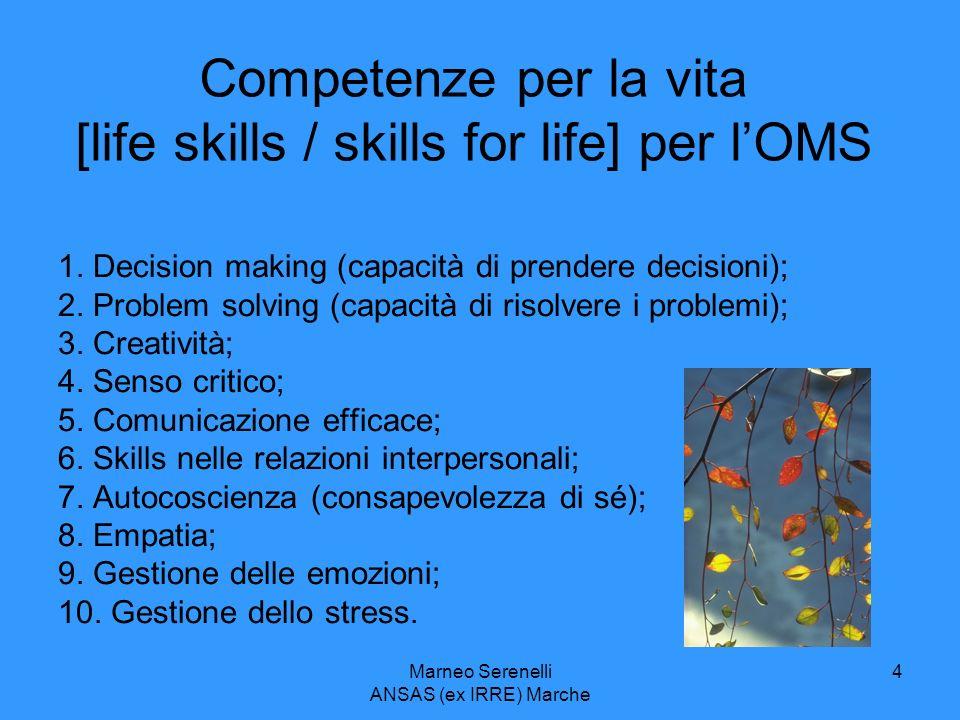 Marneo Serenelli ANSAS (ex IRRE) Marche 4 Competenze per la vita [life skills / skills for life] per lOMS 1. Decision making (capacità di prendere dec