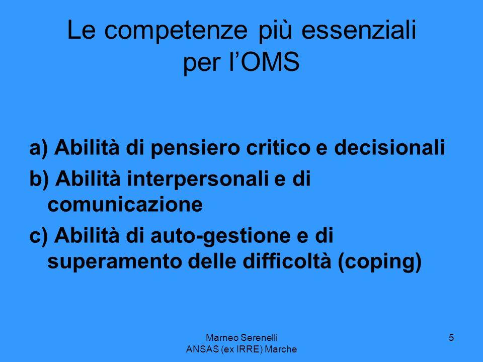 Marneo Serenelli ANSAS (ex IRRE) Marche 5 Le competenze più essenziali per lOMS a) Abilità di pensiero critico e decisionali b) Abilità interpersonali
