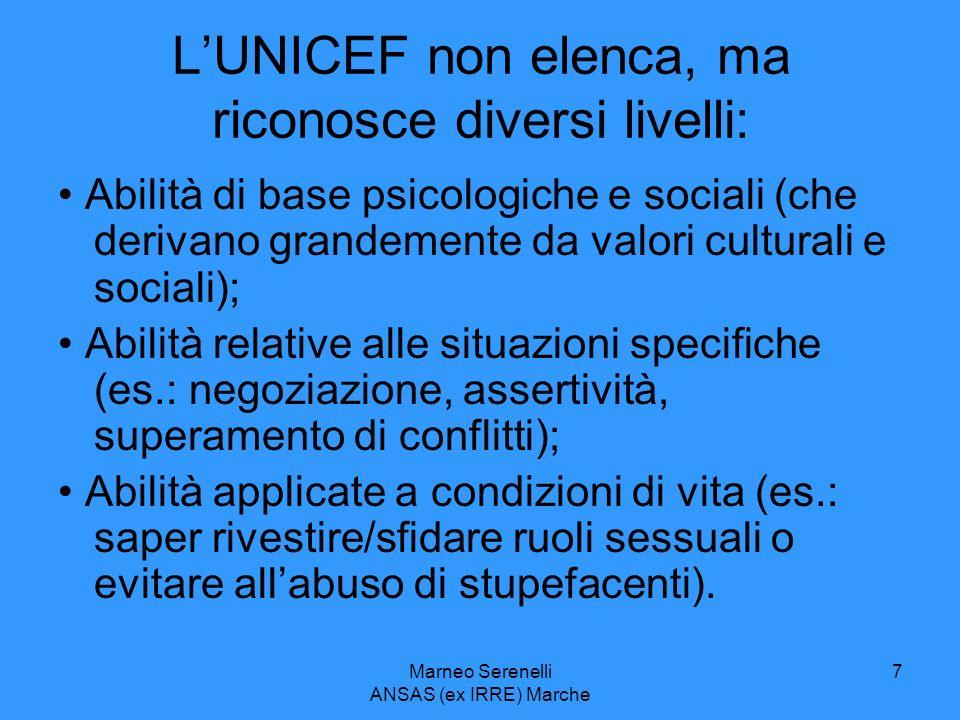 Marneo Serenelli ANSAS (ex IRRE) Marche 7 LUNICEF non elenca, ma riconosce diversi livelli: Abilità di base psicologiche e sociali (che derivano grand