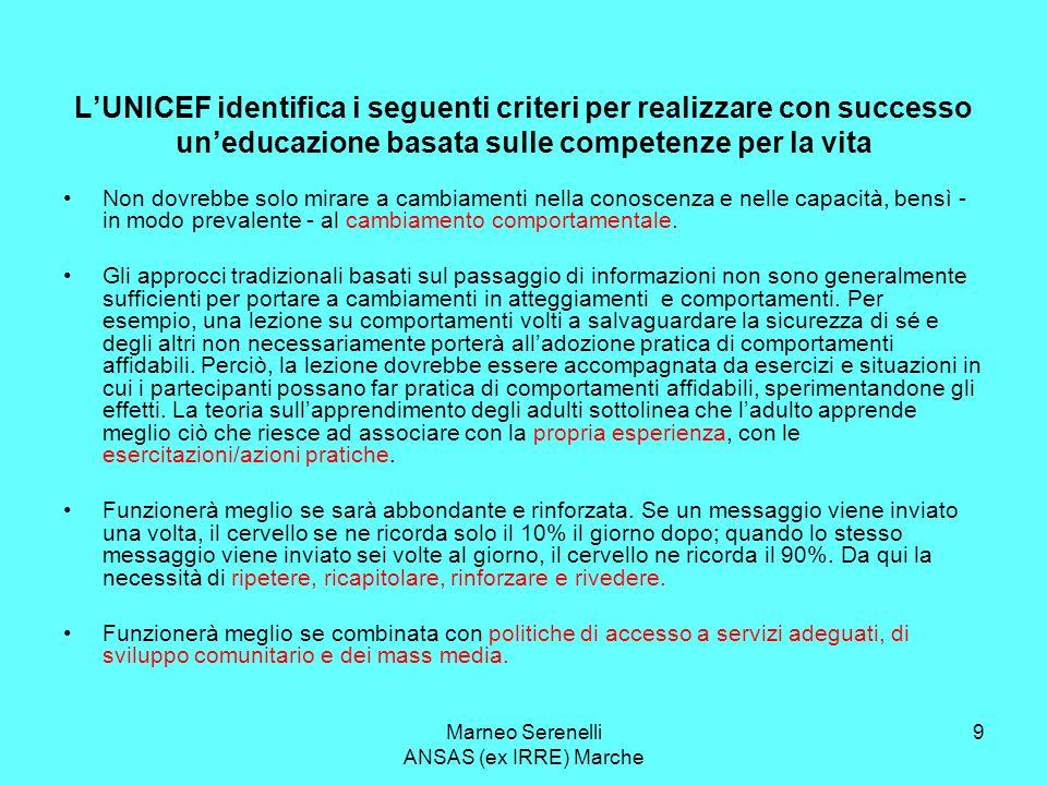 Marneo Serenelli ANSAS (ex IRRE) Marche 9 LUNICEF identifica i seguenti criteri per realizzare con successo uneducazione basata sulle competenze per l