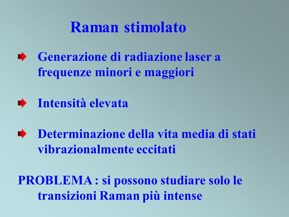 Raman stimolato Generazione di radiazione laser a frequenze minori e maggiori Intensità elevata Determinazione della vita media di stati vibrazionalme
