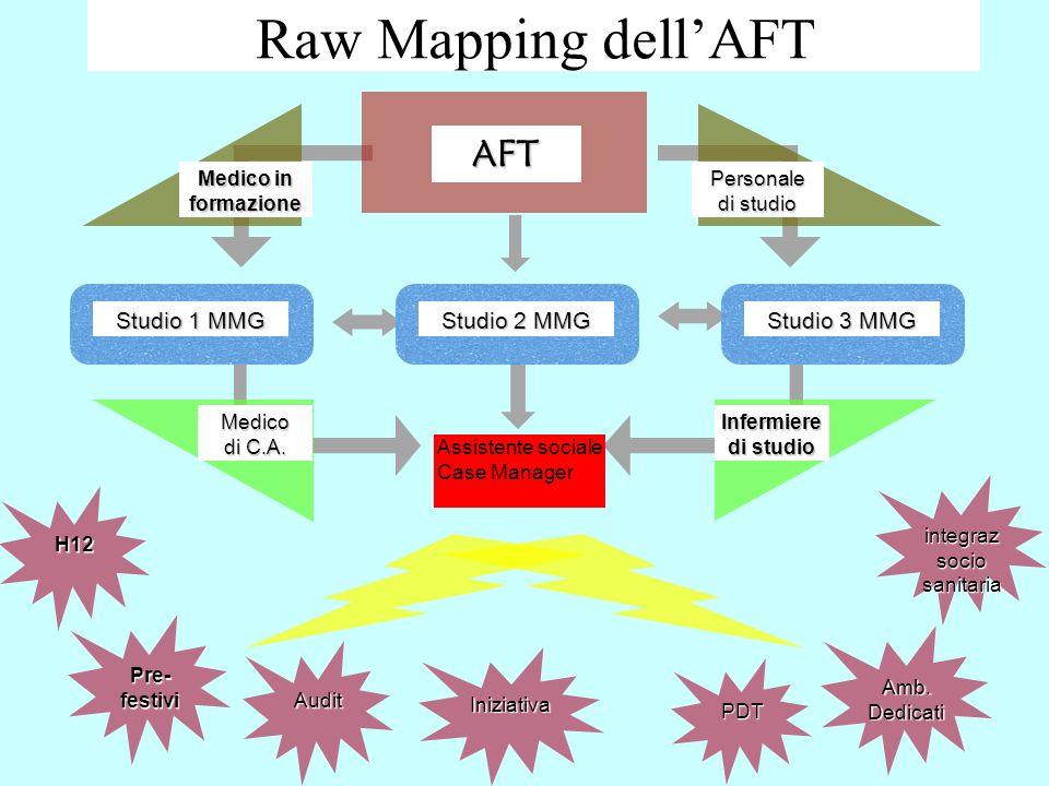 Raw Mapping dellAFTAFT Medico in formazione Personale di studio Studio 1 MMG Studio 2 MMG Studio 3 MMG Medico di C.A. Infermiere di studio H12 Pre- fe