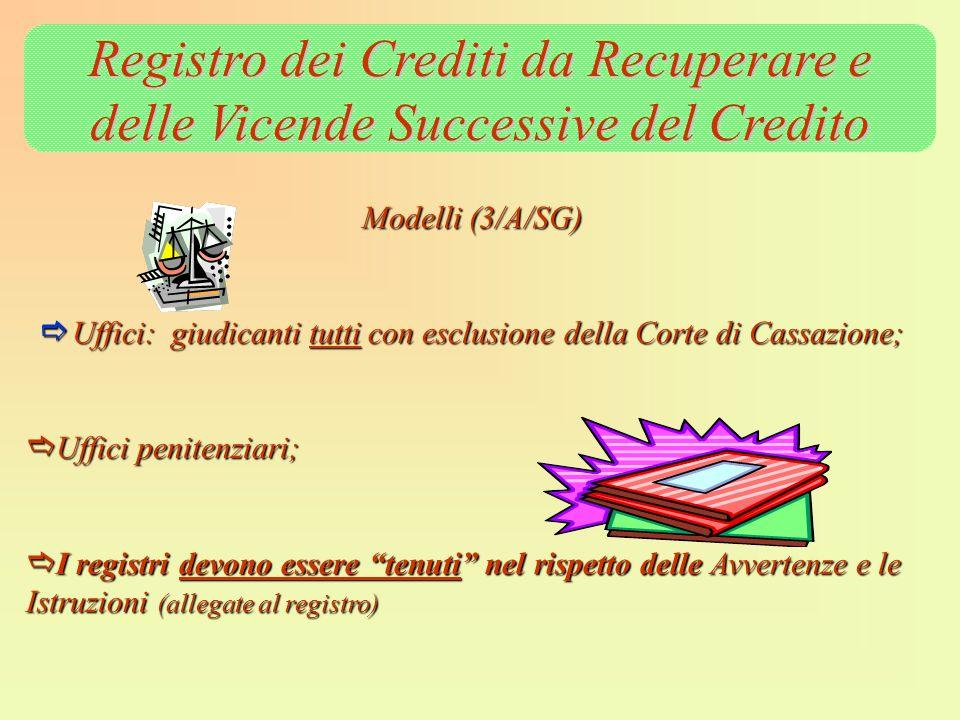 Registro dei Crediti da Recuperare e delle Vicende Successive del Credito Modelli (3/A/SG) Uffici: giudicanti tutti con esclusione della Corte di Cass