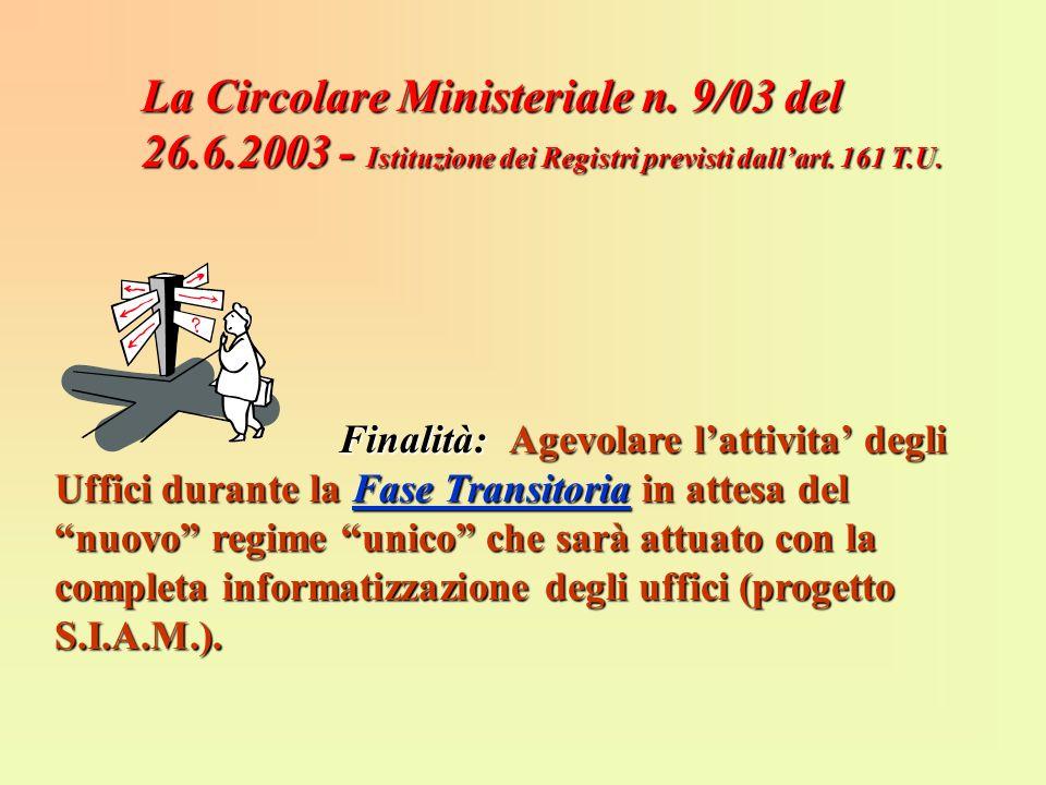 La Circolare Ministeriale n. 9/03 del 26.6.2003 - Istituzione dei Registri previsti dallart. 161 T.U. Finalità:Agevolare lattivita degli Uffici durant