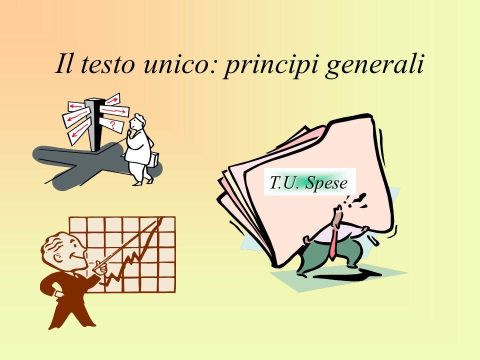 Il testo unico: principi generali T.U. Spese